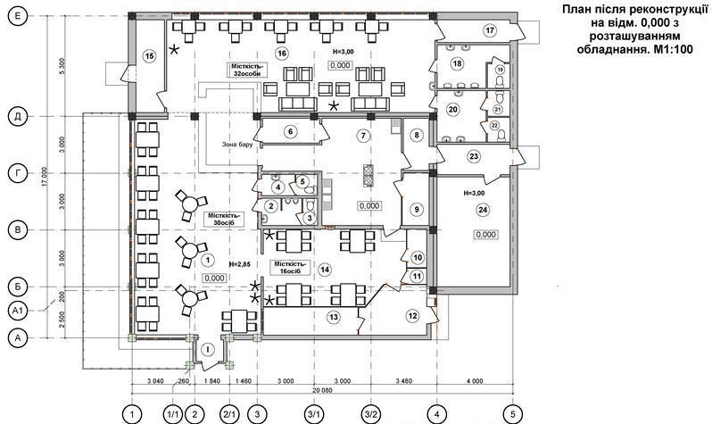 Поэтажный план кафе с расположением оборудования
